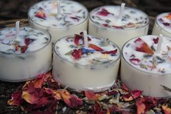 5 Lavender and Rose Petal SOY Tea-light Candles- Spa-Relaxation- Home Decor-Bath-Aromatherapy- L ...