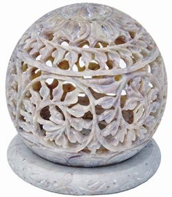 Christmas Thanksgiving Gifts – StarZebra Soapstone Tealight Candle Holder Sphere Shaped wi ...
