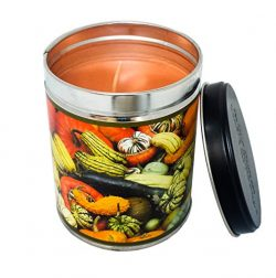 Pumpkin Spice Scented Candle in 13 Ounce Tin with a Colorful Gourds Label By Our Own Candle Company