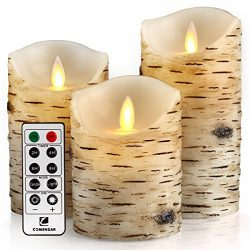 Flickering Candles, Candles Birch Set of 4″ 5″ 6″ Birch Bark Battery Candles R ...