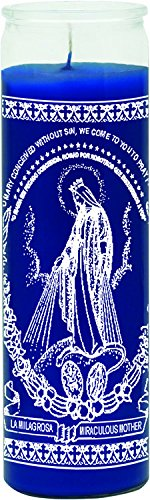 INDIO 7 Day Glass Candle Miraculous Mother Blue