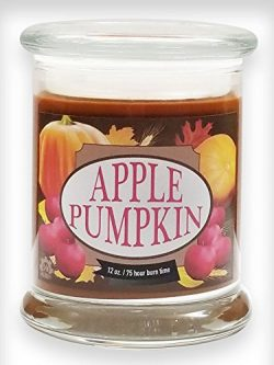 Apple Pumpkin Natural Scented Soy Wax 12oz Fall Candle ~ Aromatherapy Soy Candles Burn Longer ~  ...