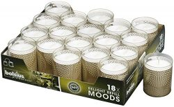 Bolsius Relight Party,Restaurant Votive Candles With Gold Shaped Cup Burns Aprox. 24 Hour 18Pk.