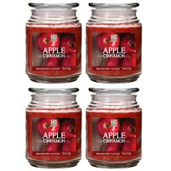Hosley Apple Cinnamon Jar Candles, Set of 4, 18 oz Each. Hand Poured Using High Quality Wax Blen ...