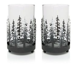 Rustic Candle Holders – Set of 2 Glass Metal Winter Trees Candle Holders – Holiday T ...