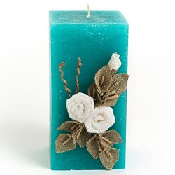 "Linen 3″ x 6″ Square Teal Candle ""White Flower"" Handmade Unscented Candl ..."