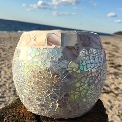 The Beach Chic Mother of Pearl Mosaic Candle Holder for Tealights and Votives, 4 1/4 T x 4 D Inc ...