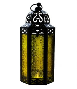 Vela Lanterns Mid-Size Table/Hanging Glass Hexagon Moroccan Candle Lantern Holders – Yellow