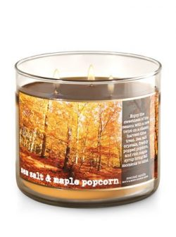Bath & Body Works Scented 3 Wick Candle 14.5 oz Sea Salt & Maple Popcorn