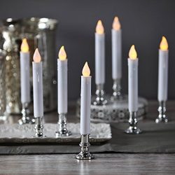 Flameless White LED Taper Candles with Silver Removable Candle Holders, Remote & Batteries I ...