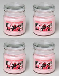 Set of 4 Starlyte Food & Aroma Scented 3 Oz Soy Candles In Apothecary Jar W/Lid (Rose Bouquet)