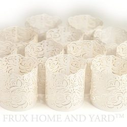 FLAMELESS TEA LIGHT VOTIVE WRAPS- 48 White laser cut decorative wraps for Frux Home and Yard Fli ...