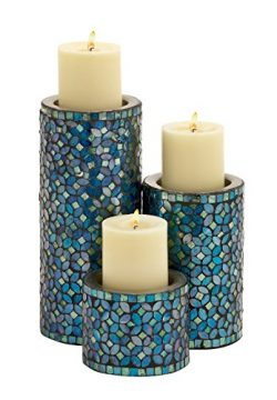 Deco 79 Metal Mosaic Candle Holder, 10 by 7 by 4-Inch, Set of 3
