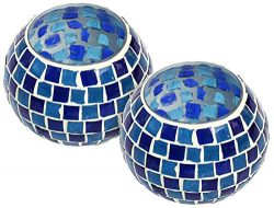 SouvNear Glass Tealight Candle Holder -3.7″ Mosaic Handmade Votive Candle Holder – C ...