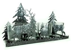 Rustic Candle Holder – Deer Silhouette Candle-Holder – Antique Brown with White Snow ...
