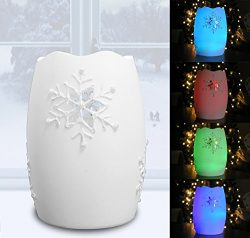 Snowflake Candles – Flameless Candle with Snowflake Design – LED Color Changing Cand ...