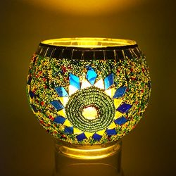YJY European Style Glass Candle Holder – Handmade Mosaic(Sunflower) 3.9″ for 2.7R ...