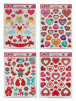 Valentine's Day Static Cling Window Decorations – 4 Large Sheet Sets