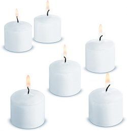 NEW! VOTIVE CANDLES White 12 Pack Unscented 10 Hours Burn Time (White)