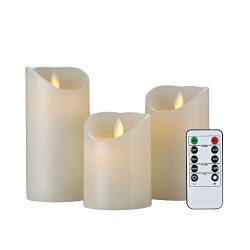 Flameless Candles 4″ 5″ 6″ Set of 3 Battery Operated Candles Flickering Flamel ...