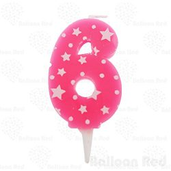 "Numerals Birthday Party Cake Candle & Happy Birthday Cake Topper, Pink, Number ""6̶ ..."