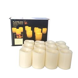 Candle Choice Set of 12 Flameless Candles, Flameless Votive Candles LED Votives with Timer, Batt ...