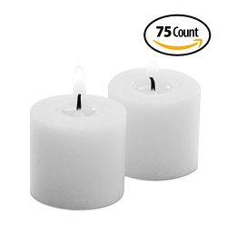 75-Pack Votive Candles White Unscented Bulk – Smokeless 1.5″D X 1.5″H for Wedd ...