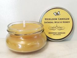 Oatmeal Milk & Honey Beeswax Candle – Pure Organic Beeswax, Vanilla Honey Candle ̵ ...