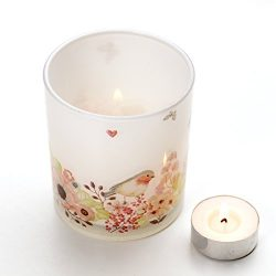 V-More Bird and Flowers Decal Frosted Glass Candle Holder Votive Candle Holder Tealight Holder 3 ...