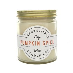 ScentSimple Scented Soy Candle, Pumpkin Spice