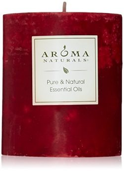 Aroma Naturals Peace Ruby Holiday Essential Oil Pillar Candle, Orange, Clove and Cinnamon, 3 Inc ...