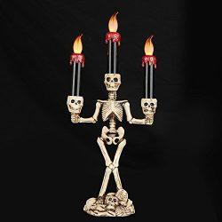 ELINKUME Halloween Skeleton Sculpture Triple LED Flameless Candle Holder Fantasy Candle Sticks K ...