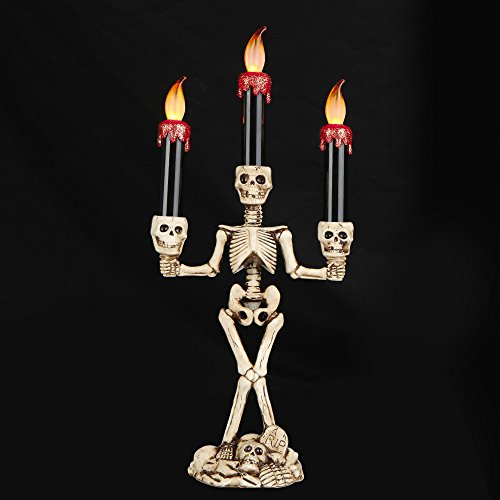 ELINKUME Halloween Skeleton Sculpture Triple LED Flameless Candle Holder Fantasy Candle Sticks K ...