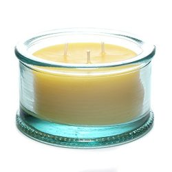 "Bluecorn Beeswax 100% Raw Beeswax 3-Wick Candle in 100% Recycled Glass (4 ¼"" Dia. x 2 ½"" Tall) – ..."