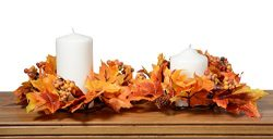 Set of 2 Thanksgiving Fall Candle Ring With Fall Leaves, Pine Cones and Berries