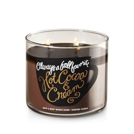 Bath & Body Works Hot Cocoa & Cream Always A Fall Favorite Scented 3 Wick 14.5 Ounce Candle