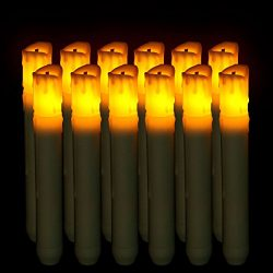 Micandle 12Pcs Yellow Led Taper Candles,Led Flameless Taper Candles for Halloween Thanksgiving W ...