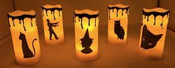 Haunted Halloween LED Lighted Flameless Candle Flicker Wax Candles Five (5)-Piece Set Decor. … ( ...