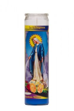 The Miraculous Mother Religious Prayer Candle / La Milagrosa Catholic Novena Vigil Candle (Blue Wax)