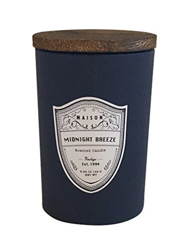 Maison Midnight Breeze Scented Candle. Cylinder Jar with Wooden Lid.