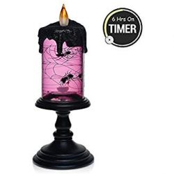 Halloween Spider Tornado LED Lighting Flameless Candle with Timer, Battery Operated Table Center ...