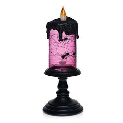 Halloween Spider Tornado LED Lighting Flameless Candle,Battery Operated Table Centerpiece for Ho ...