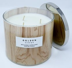 Bath & Body Works Golden Citrus Scented Candle 3 Wick 14.5 Ounce