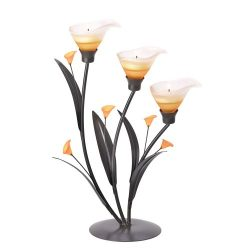 Gifts & Decor Amber Lilies Flower Decorative Tealight Candle Holder