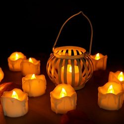 Youngerbaby 24pcs Amber No Flicker LED Tea Lights Wax Dripped Battery Operated Candle Unscented  ...