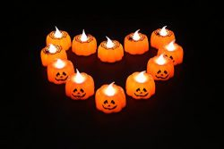 Halloween Led Tea Lights, Battery Powered Flameless Candles for Indoor and Outdoor, Home (White  ...