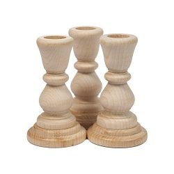 Unfinished Candlesticks 4 Inch, Unfinished Wood Candlesticks 4″ – Bag of 3