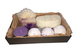 AyaZen Lavender Me Time Aromatherapy Gift Set Pamper & Relax With Lavender Bath Bombs, Soy C ...