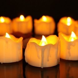 Youngerbaby 12pcs Amber Flicker LED Tea Lights Wax Dripped Battery Operated Candle Unscented Sma ...