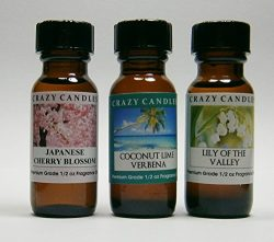 3 Bottles Set, 1 Japanese Cherry Blossom, 1 Coconut Lime Verbena, 1 Lily of the Valley 1/2 Fl Oz ...